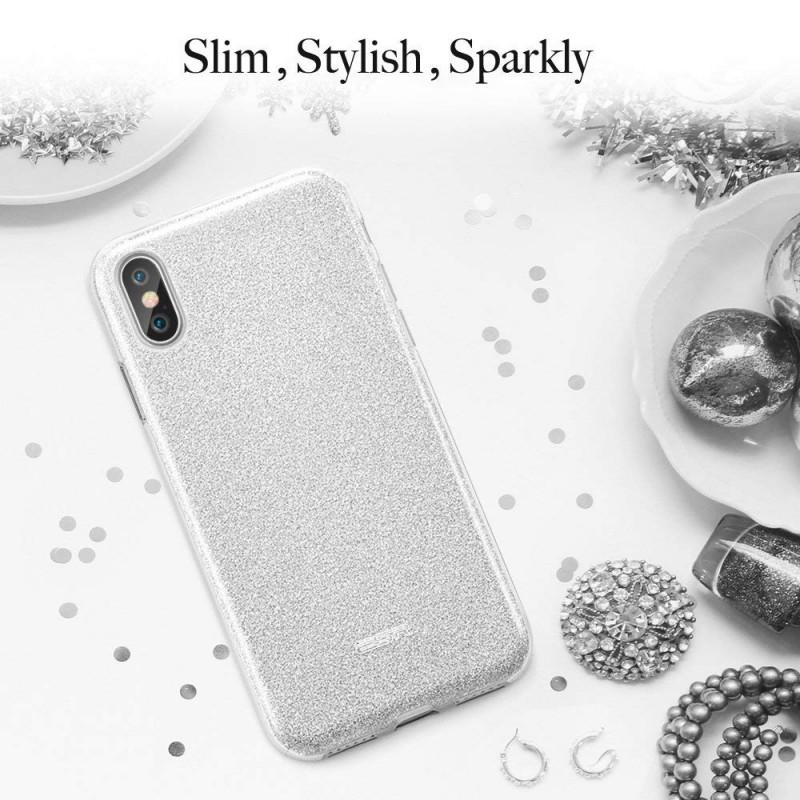 4248b81551 ESR Makeup Glitter case for iPhone X, Silver