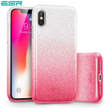 Carcasa ESR Makeup Glitter iPhone X, Ombre Pink