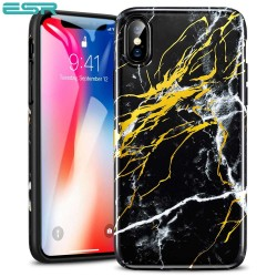 Carcasa ESR Marble iPhone X, Black Gold Sierra