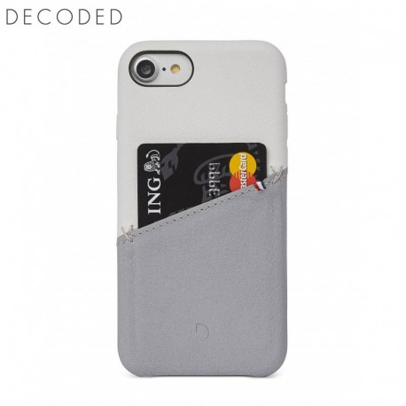 Decoded leather Back Cover for iPhone 8 / 7 / 6s / 6, White / Grey