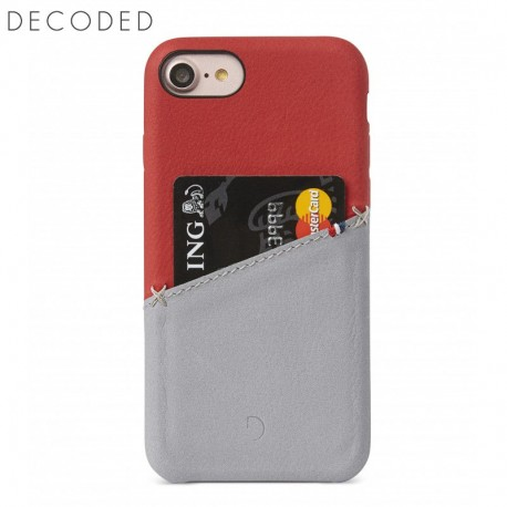 Decoded leather Back Cover for iPhone 8, 7, 6s, 6, Red/Grey