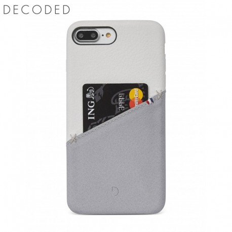 Decoded leather Back Cover for iPhone 8 Plus / 7 Plus / 6s Plus / 6 Plus, White / Grey