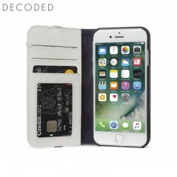 Decoded leather Wallet Case for iPhone 8, 7, 6s, 6, White/Grey