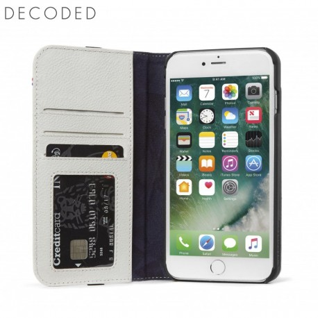 Decoded leather Wallet Case for iPhone 8 Plus, 7 Plus, 6s Plus, 6 Plus, White/Grey