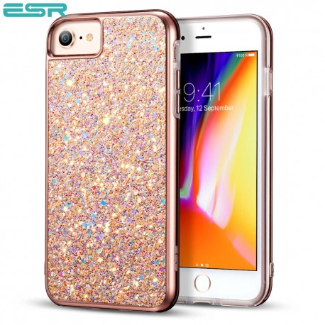 Carcasa ESR Glitter iPhone 8 / 7, Metallic Peach