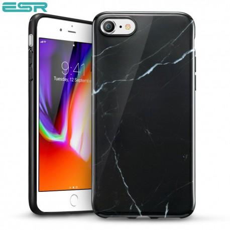 Carcasa ESR Marble iPhone 8 / 7, Black Sierra