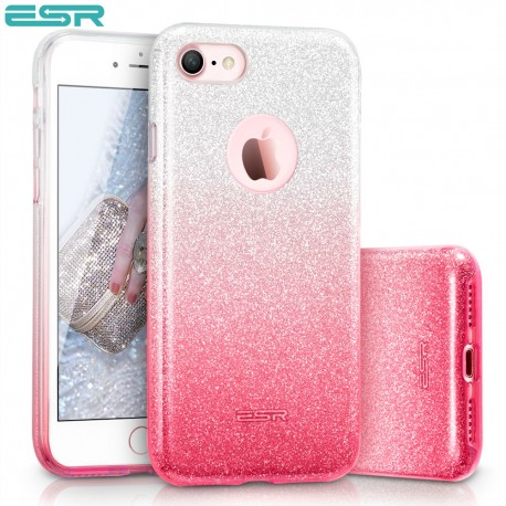 Carcasa ESR Makeup Glitter Sparkle Bling iPhone 8 / 7, Ombra Pink
