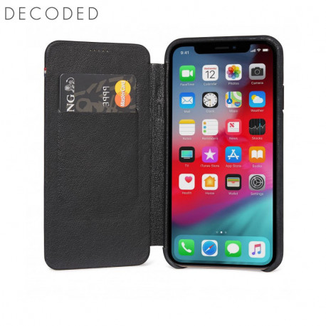Decoded leather Slim Wallet iPhone XS / X, Black