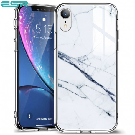 ESR Mimic-Marble case for iPhone XR, White