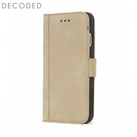 Husa piele tip carte, buzunare carduri, inchidere magnetica iPhone 8 / 7 / 6s Decoded bej