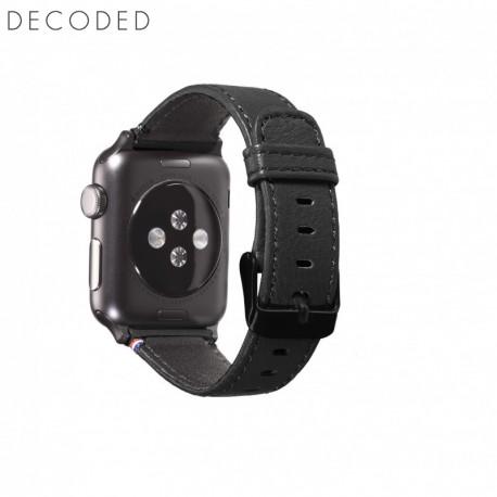 Curea din piele pentru Apple Watch seriile 1/2/3 (38mm) Decoded neagra