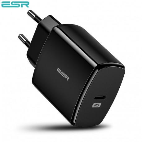 Incarcator de retea ESR Power Delivery (PD) Charger 18W, 1 port USB-C, Black