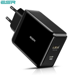 ESR Power Delivery (PD) Charger 30W, 1 USB-C + 1 USB-A, Black