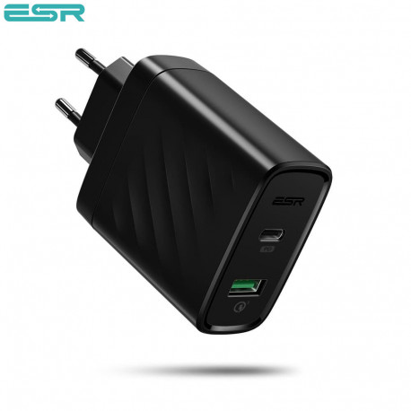 ESR Power Delivery (PD) Charger 36W, 1 USB-C + 1 USB-A, Black