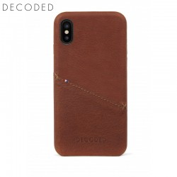 Leather back cover for iPhone X Decoded brown