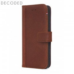 Leather wallet case Decoded with magnet closure for iPhone XS / X brown
