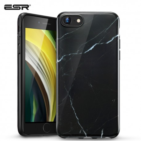 Carcasa ESR iPhone SE 2020 / 8 / 7 Marble Slim Soft Case, Black