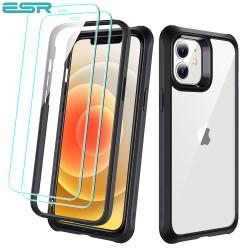 ESR Alliance - Black frame case for iPhone 12 mini + 2 Tempered-Glass Screen Protectors