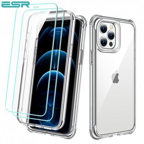 Carcasa ESR Alliance iPhone 12 / 12 Pro, Clear frame + 2 folii sticla securizata