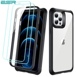 ESR Alliance - Black frame case for iPhone 12 Pro Max + 2 Tempered-Glass Screen Protectors